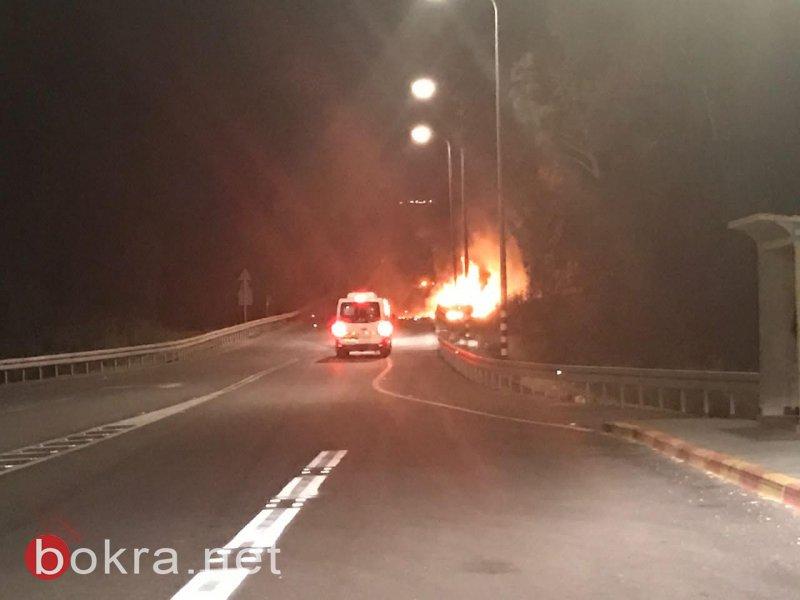 احتراق شاحنة على مدخل قرية دبورية