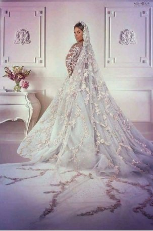 اطلالة ساحرة لإيمان العاصي بفستان الزفاف