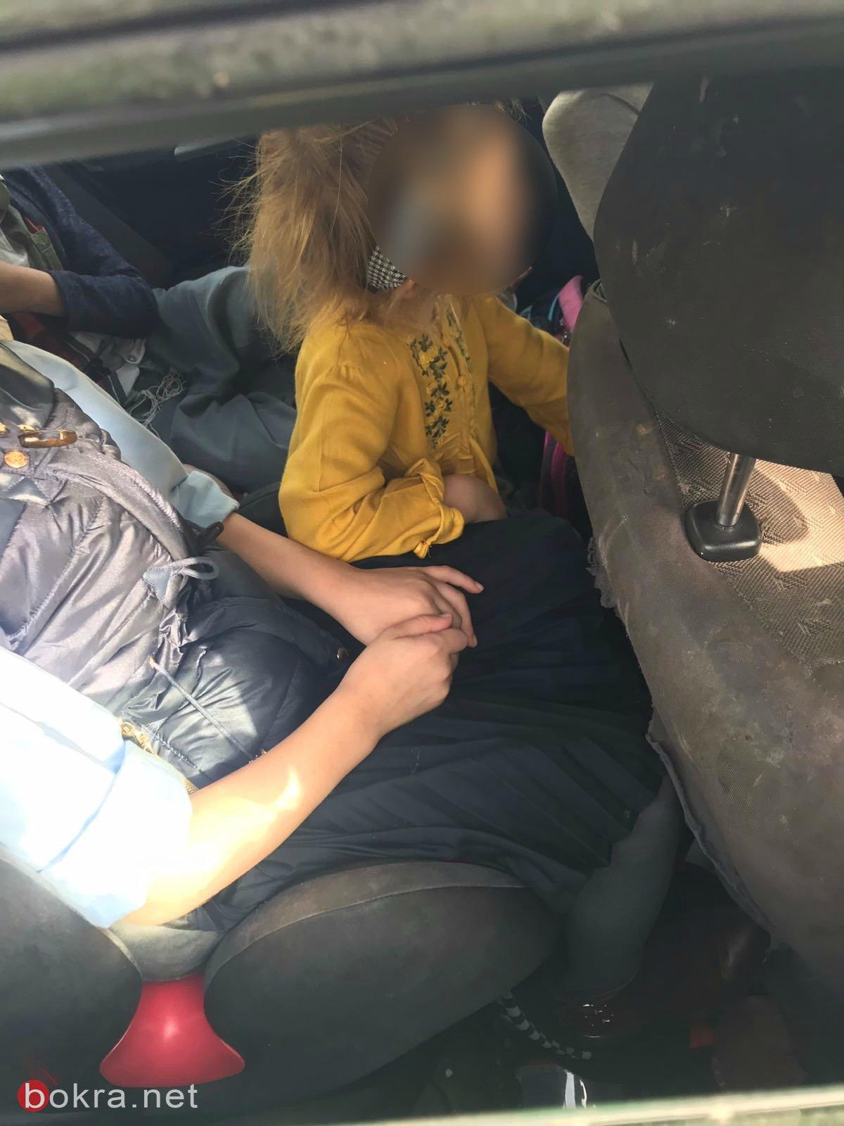 ايقاف سائقة تقل 5 اطفال دون وسائل امان وبدون رخصة قيادة
