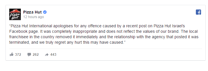 بيتسا هت العالمية تعتذر من الأسرى والبرغوثي