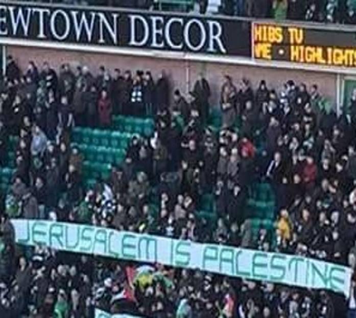 """أنصار """"سلتيك"""" الأسكتلندي يرفعون شعار """"القدس هي فلسطين"""""""