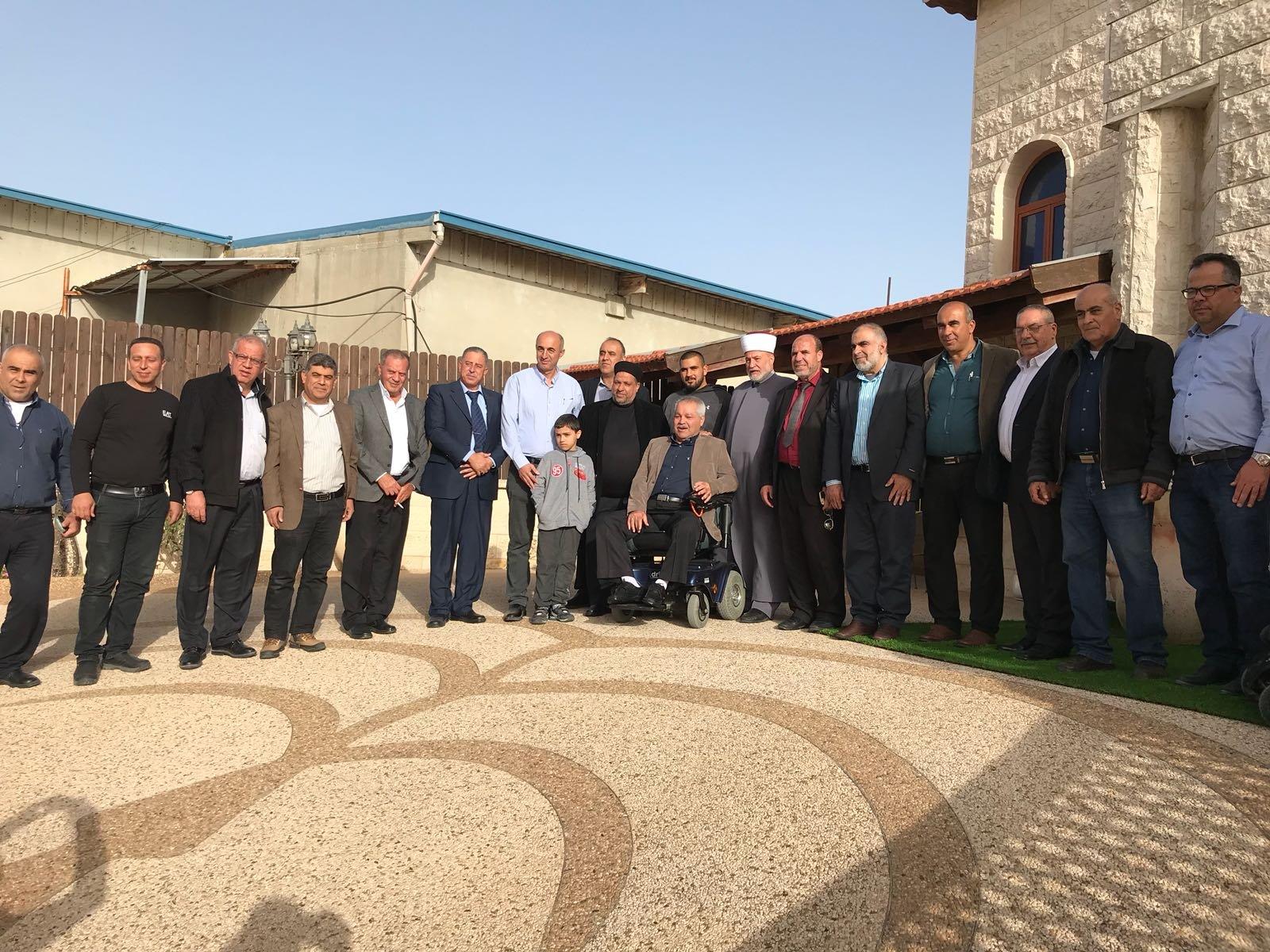 وزير الاوقاف الفلسطيني ومفتي القدس والديار الفلسطينية في زيارة لمدينة ام الفحم