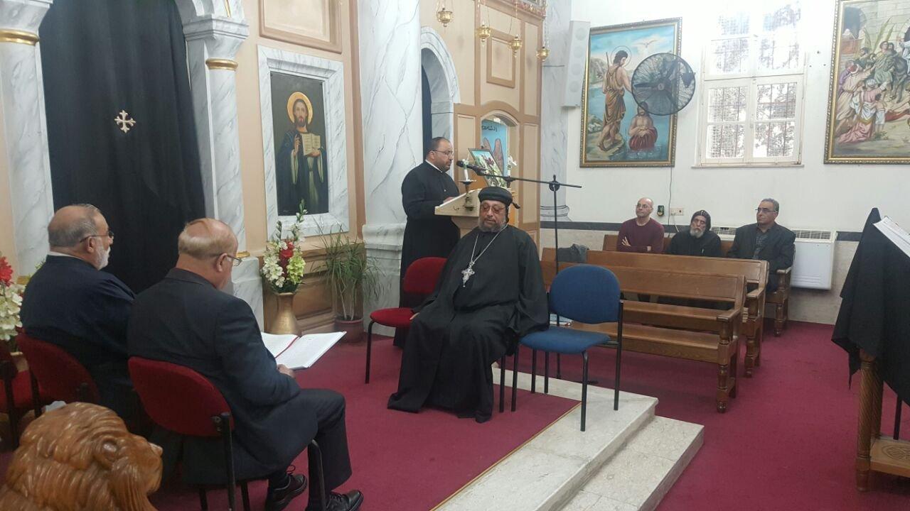صلاة على ارواح شهداء الشعانين في الكنيسة القبطية في الناصرة