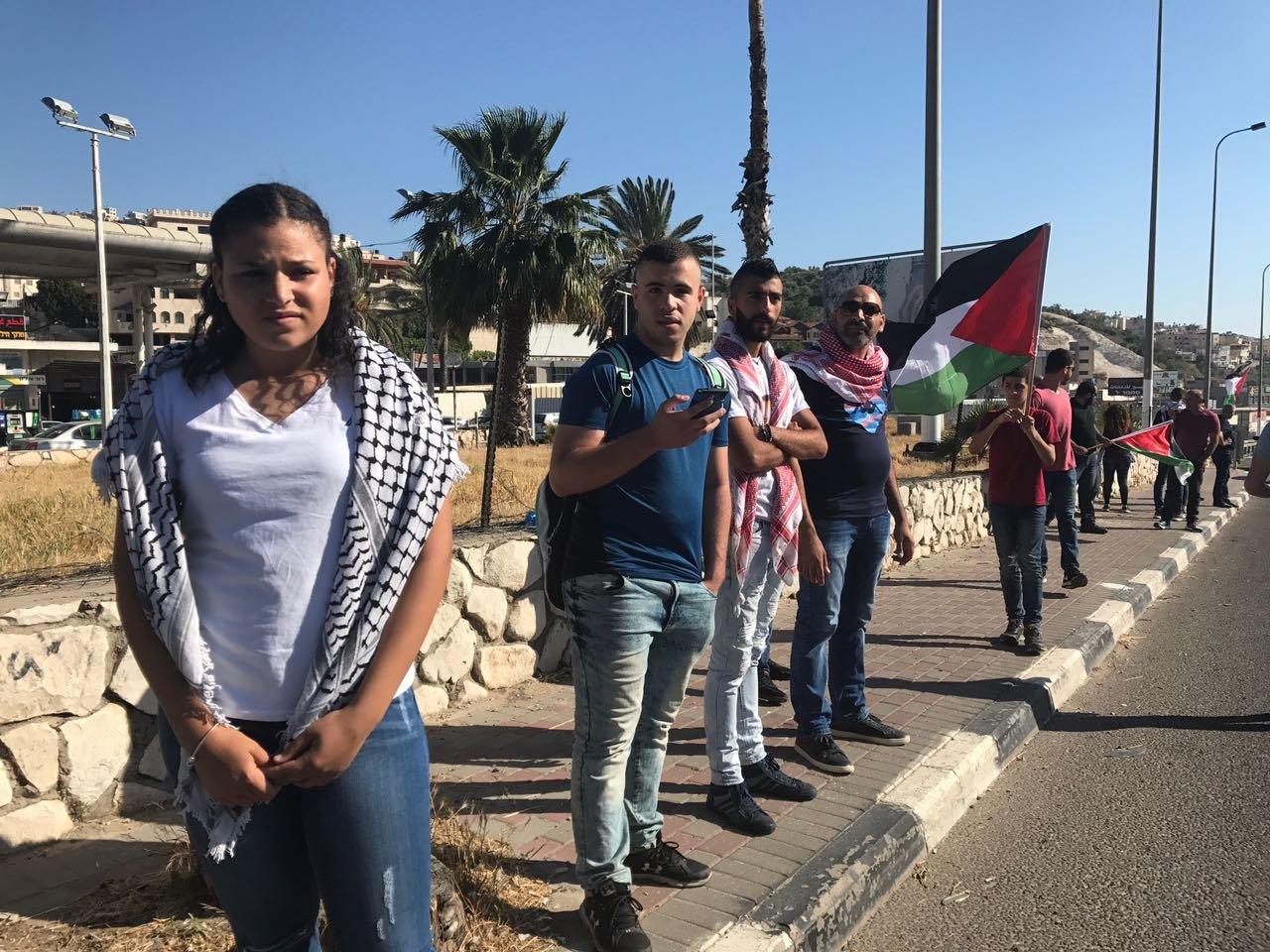 مظاهرة دعمًا للأسرى على مدخل مدينة أم الفحم
