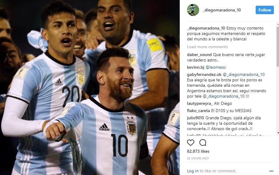 مارادونا يعرب عن سعادته بتأهل الأرجنتين لمونديال روسيا