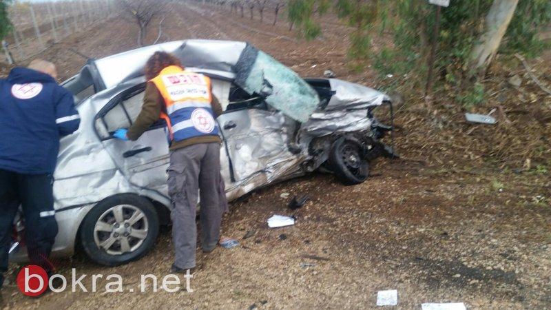 مصرع سيدة وإصابة آخرين بحادث طرق قرب كفر كما (الشركس)