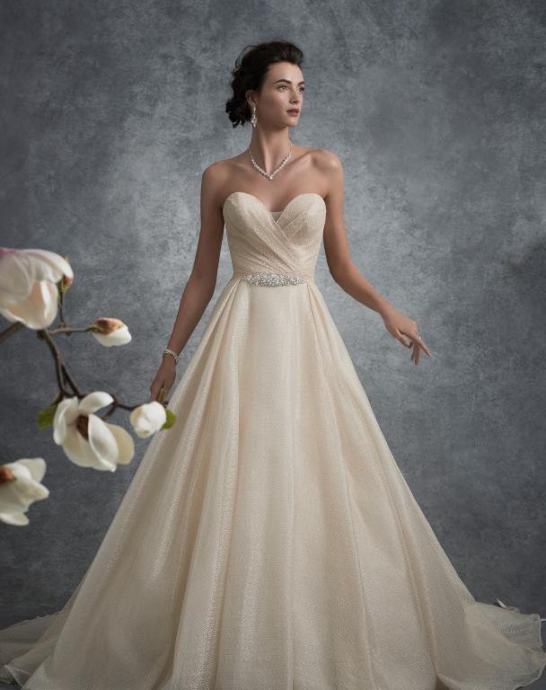 فساتين زفاف باللون الذهبي لإطلالة راقية