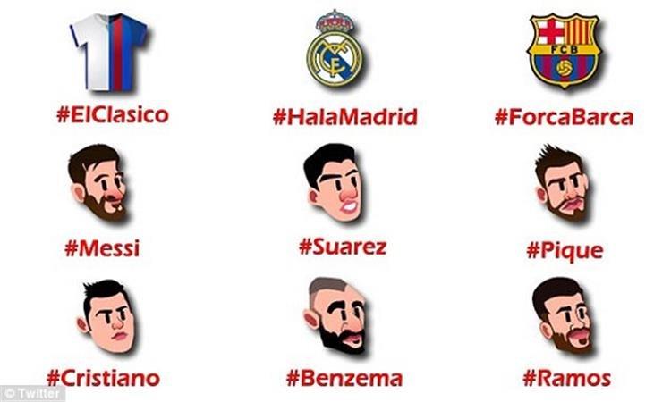 تويتر يصدر إيموجي بصور لاعبي ريال وبرشلونة استعداداً للكلاسيكو