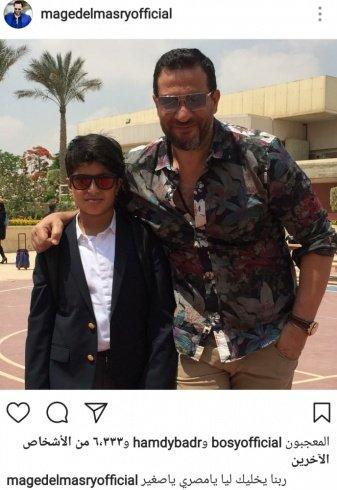 نجل ماجد المصري يخطف الانظار بوسامته.. هل يشبهه؟