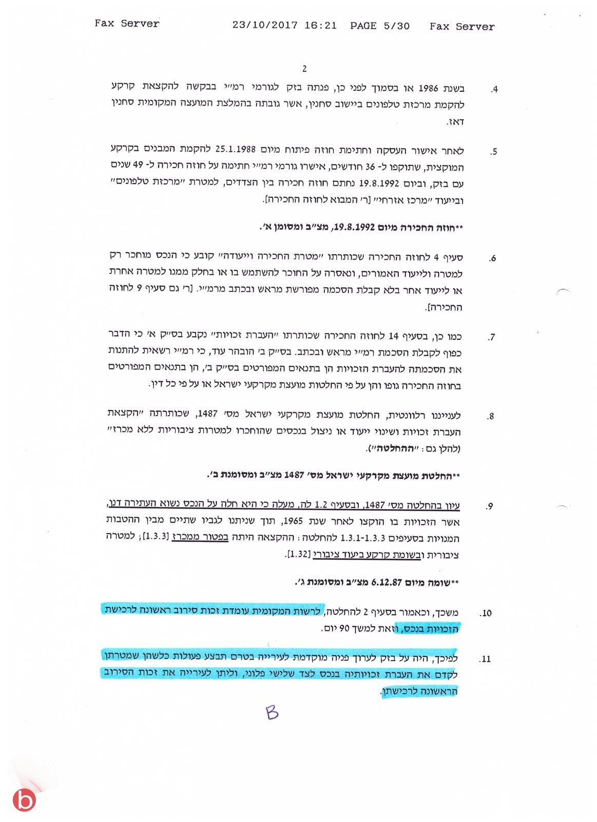 سخنين: بيزك للبيع  المحكمة توقف صفقة بيع أرض بيزك وتعيد القرار للمنهال