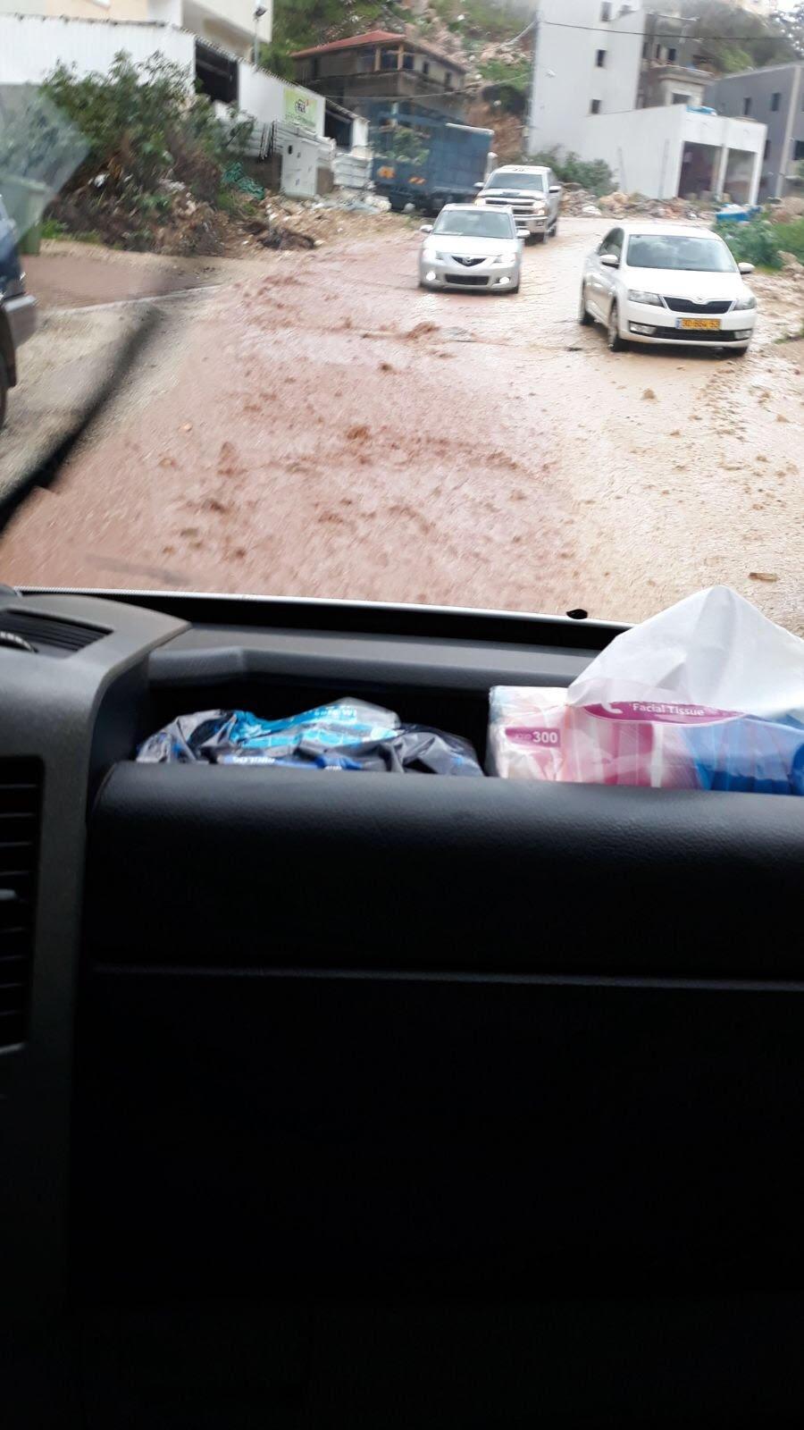 الامطار في ام الفحم تسبب ازمة السير وتشويش في حركة التنقل