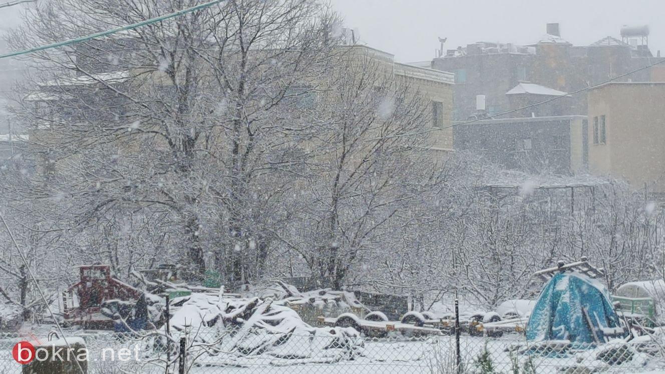 بالفيديو والصور: الثلوج تغطي بلدات الجولان والجليل الأعلى .. والمياه تغرق شوارع باقة والمثلث