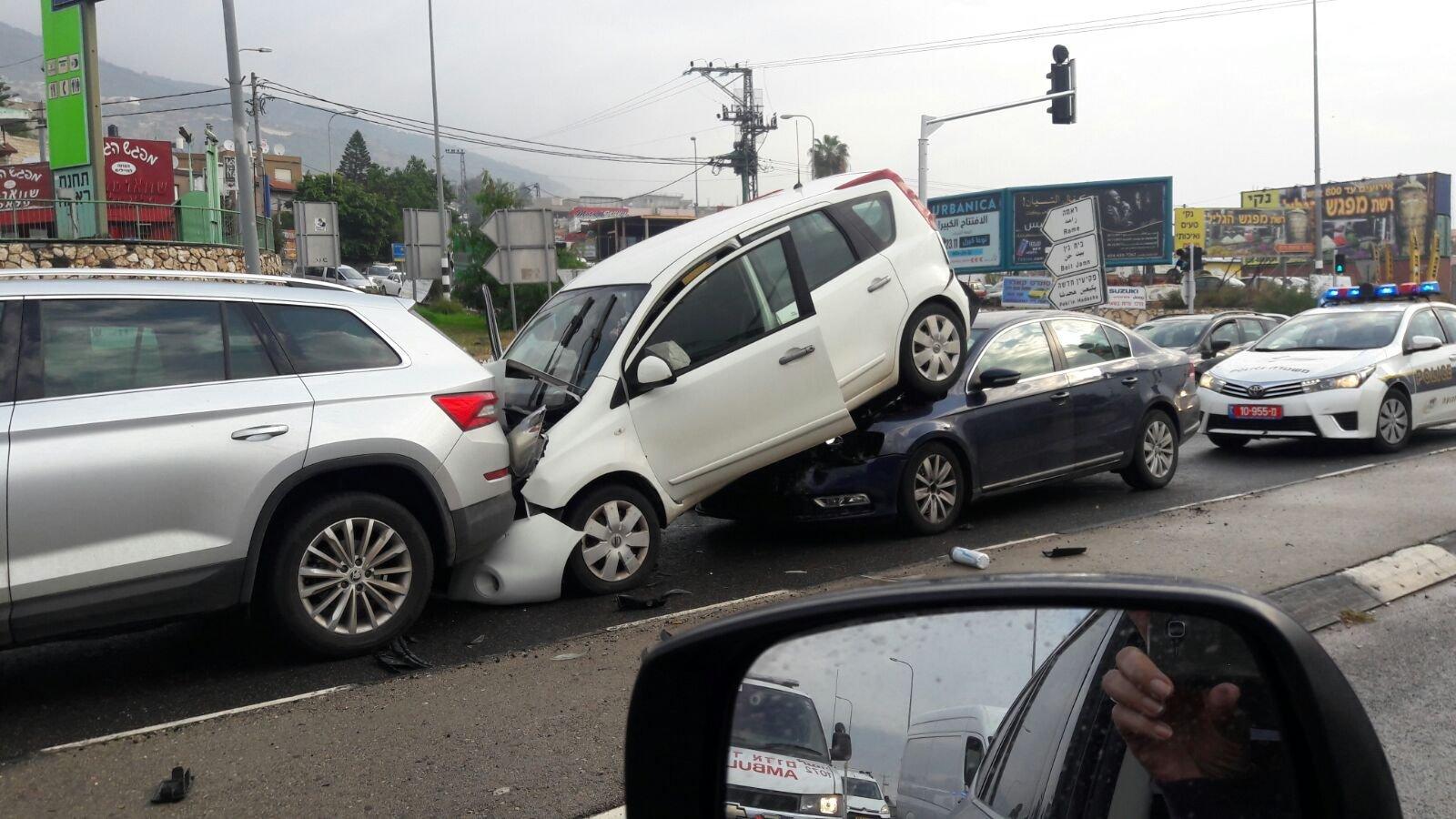 الرامة: اصابات متفاوتة خلال نتجت عن حادث متتالي