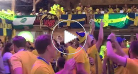 الجماهير السويدية تشعل الأجواء قبل مواجهة منتخبها مع سويسرا