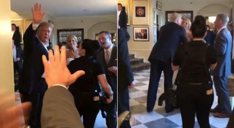ترامب يفاجىء عروسين بلا موعد في حفل زفافهما ويقبل العروس