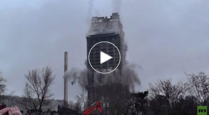 بالفيديو: ناطحة سحاب في ألمانيا تسقط في 10 ثوان
