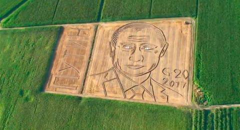 صورة عملاقة لبوتين في حقل ذرة بإيطاليا