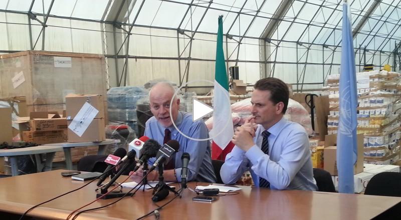 ايطاليا تقدم 30 طن من المساعدات الانسانية لغزة