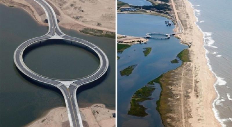 لماذا شيد هذا الجسر دائريا رغم قصر المسافة بين الضفتين؟