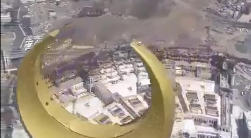 تصوير بانورامي مذهل للحرم المكي الشريف من أعلى برج الساعة