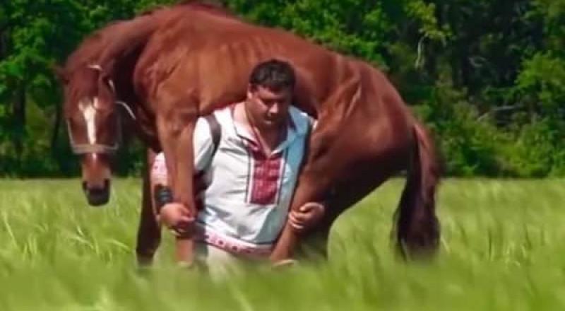 الرجل الأقوى بالعالم يحمل حصاناً ويدق المسامير بيديه