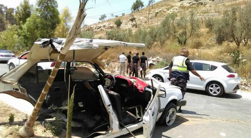 مصرع مواطنة وإصابة 7 آخرين في حادثي سير جنوب نابلس وشمال شرق القدس