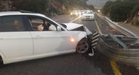 اصابة متوسطة لسائق في حادث طرق ذاتي- شارع الرامة وادي سلامة