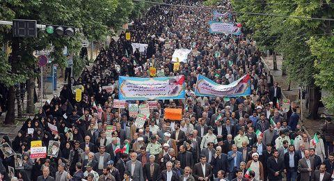 إيران.. مسيرات حاشدة تندد بالسياسة الأمريكية تجاه الاتفاق النووي