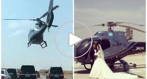 أغرب زفة عروسين بمروحية فوق السيارات بكازاخستان