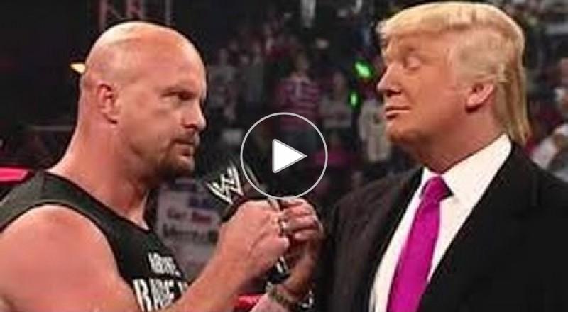 بالفيديو.. شاهد ترامب عندما حلق شعر منافسه على حلبة المصارعة!
