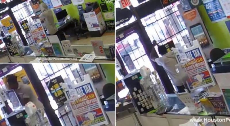 دهاء عاملة في متجر ينقذها من لص مسلح