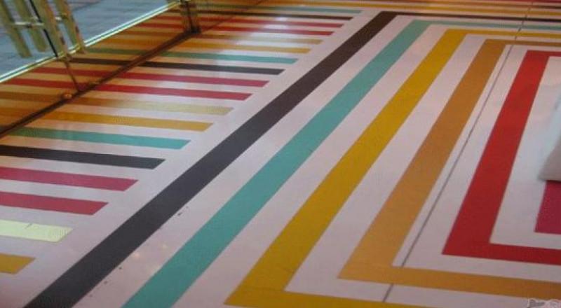 الأرضيات الملونة والمنقوشة موضة مطابخ 2017