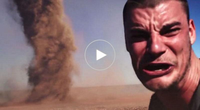 شاب يخاطر بحياته أمام إعصار من أجل إلتقاط سيلفي له
