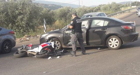 اصابتان في حادث تصادم على شارع عرابة دير حنا