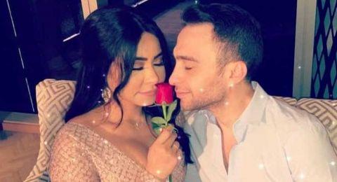 لحظة رومانسية ووردة حمراء بين شيرين وحسام حبيب