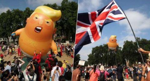 كيف علق ترامب على إطلاق بالون يسخر منه أثناء زيارته بريطانيا!