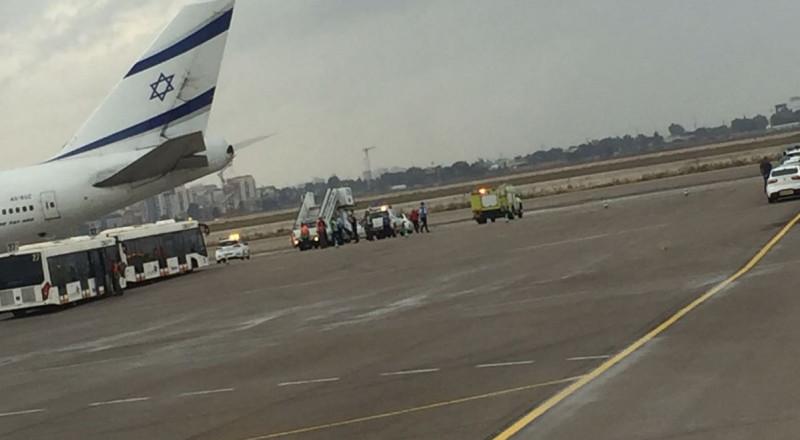 طائرة بوينغ اسرائيلية تهبط بعد مشكلة واجهتها