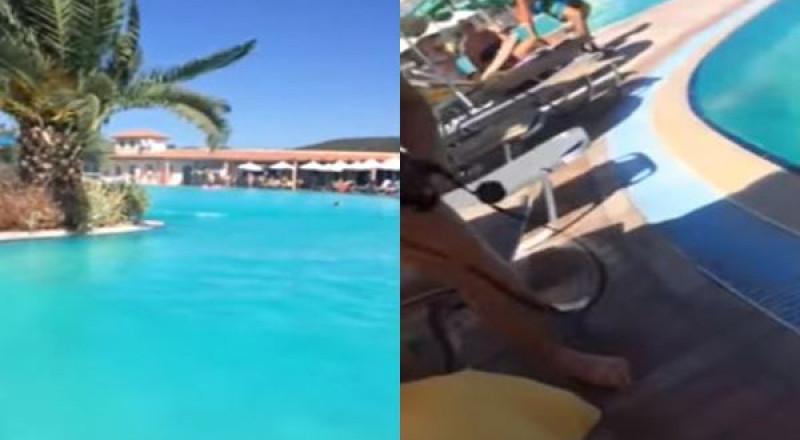 زوبعة صغيرة تثير الرعب في مسبح باليونان