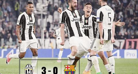 يوفنتوس يضرب برشلونة بثلاثية ويتقرب من نصف النهائي