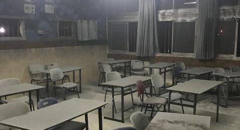 سخنين: اضرام النيران في مدرسة الحلان، ولجنة اولياء امور الطلاب تستنكر