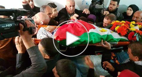 تشييع جثمان الطفل الذي استشهد يوم أمس شرق مدينة البيرة