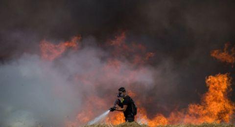 حرائق بغلاف غزة بفعل طائرات وبالونات حارقة
