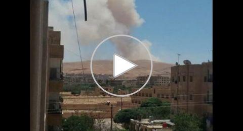 انفجارات ضخمة في إحدى القطع العسكرية في منطقة القطيفة بريف دمشق
