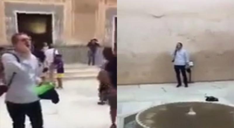 سائح أمريكي يصدح بالأذان في قصر الحمراء بإسبانيا