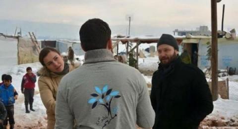 مكسيم خليل وزوجته يزوران مخيمات اللاجئين السوريين في البقاع