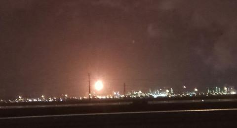 حريق كبير في مصافي النفط في حيفا