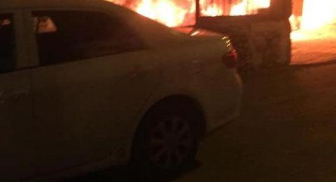 اشتعال النيران في سيارة عضو الكنيست عبد الحكيم
