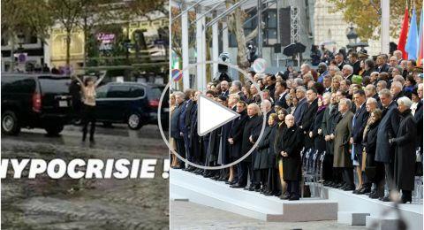 باريس.. 70 زعيماً يحتفلون بمئوية الحرب العالمية الأولى، وعارية صدر تعترض موكب ترامب
