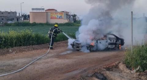 بالصور: احراق سيارة في المكر وبلطف الله لم تقع إصابات
