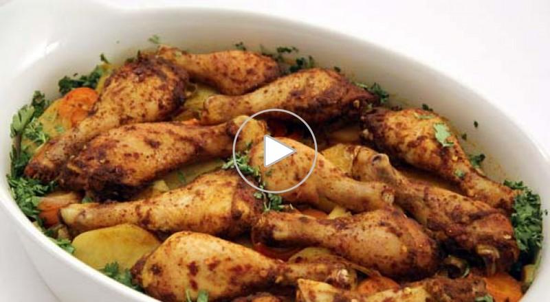 صينية الدجاج بالتمر الهندي والخضروات-مطبخ منال العالم